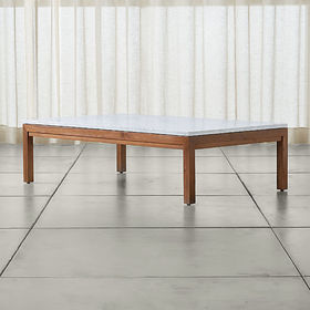 Crate Barrel Parsons White Marble Top/ Elm Base 60