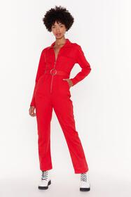 Nasty Gal Red Zip It Through Denim Boilersuit