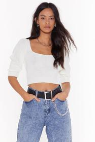 Nasty Gal Cream Leave Knit With Me Square Neck Swe