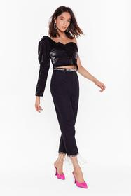 Nasty Gal Black She Just Shines Diamante Jeans