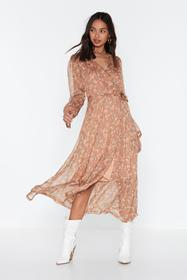 Nasty Gal Nude Midi Wrap Dress Part Lined With Ruf