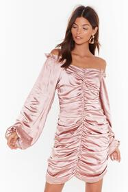 Nasty Gal Blush Sleeve It to Me Off-the-Shoulder S