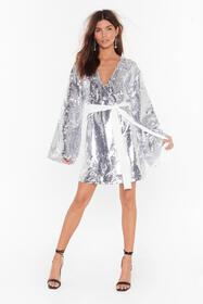 Nasty Gal Silver Disco's to Show Sequin Batwing Dr