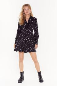Nasty Gal Black Dot Even Invited Relaxed Mini Dres