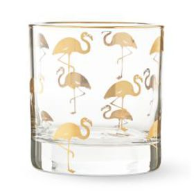 Gold Flamingo Double Old-Fashioned Glass