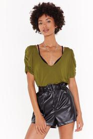 Nasty Gal Olive Now You V Me Puff Sleeve Tee