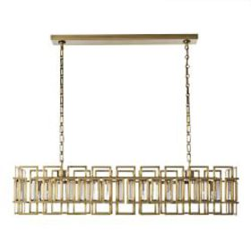 "Montclair Crystal 50"" Linear Chandelier, Antique B"
