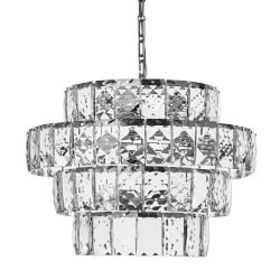 "Parker 23"" Round Layered Crystal Chandelier, Polis"