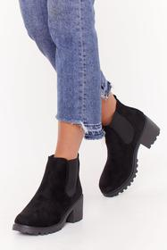 Nasty Gal Black Cleated Ribbed Gusset Chelsea Boot