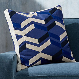 Crate Barrel Pattern Blue Box Pillow with Feather-