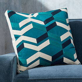 Crate Barrel Pattern Teal Box Pillow with Feather-