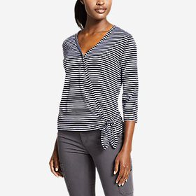 Women's Gate Check 3/4-Sleeve Wrap-Front Top - Str