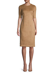 Anne Klein Elbow-Sleeve Faux Suede Sheath Dress VI