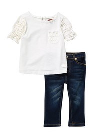 7 For All Mankind Crochet Sleeve Top & Jeans Set (