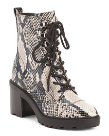 MARC FISHER Snake Lace Up Lug Sole Boots
