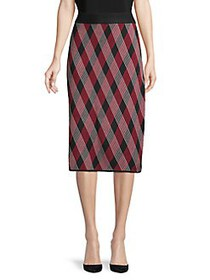 Anne Klein Checkered Pencil Skirt RED MULTI