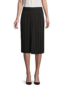 Anne Klein Pleated Metallic Skirt BLACK METALIC