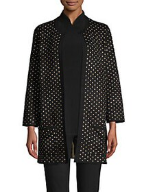 Anne Klein Knit Polka-Dot Cardigan BLACK GOLD