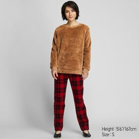 WOMEN FLEECE LONG-SLEEVE SET, BROWN, medium