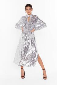 Nasty Gal Silver Head to Toe Icon Sequin Maxi Dres