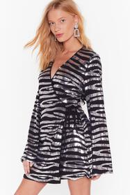 Nasty Gal Black If Zebra You're in Doubt Sequin Wr