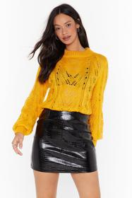 Nasty Gal Yellow You've Got a Pointelle Relaxed Sw