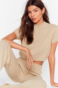 Nasty Gal Stone This is Knit Crop Top and Wide Leg