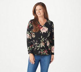 Denim & Co. Printed Perfect Jersey V-Neck Top - A3