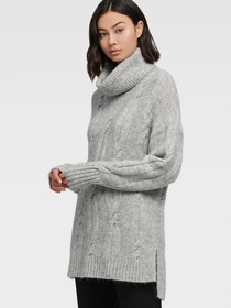 Donna Karan COWL NECK CABLE KNIT SWEATER