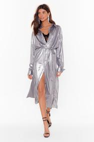 Nasty Gal Silver One More Can't Shirt Metallic Mid