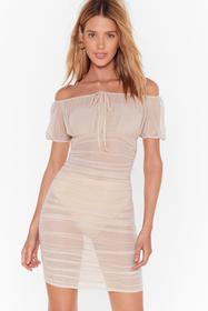 Nasty Gal Nude Gather Your Things Mesh Dress