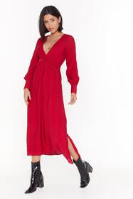 Nasty Gal Red V Right Back Plunging Miaxi Dress