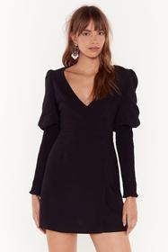 Nasty Gal Black Guess What We Shirred Wrap Mini Dr