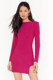 Nasty Gal Hot pink Holy Slit Ribbed Mini Dress