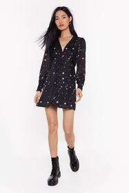 Nasty Gal Black All the Stars Button-Down Dress