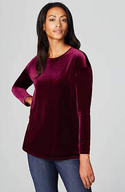 Velvet-Knit Long-Sleeve Top
