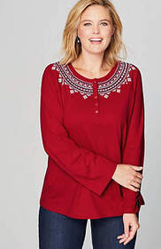 Embroidered & Buttoned Knit Top