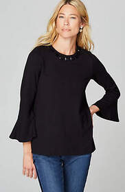 Ponte Knit Embellished Bell-Sleeve Top