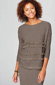 Faye Fringed Boat-Neck Sweater