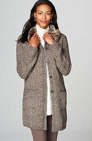 Marled Topper With Removable Faux-Fur Collar
