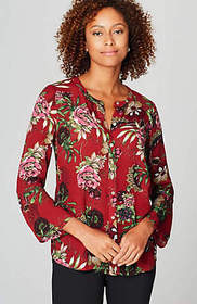 Flared-Sleeve Floral Blouse