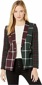 Vince Camuto Bold Plaid Notch Collar Color Block B