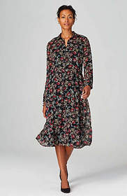 Tiered Button-Front Floral Dress