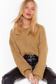 Nasty Gal Camel Knit Back and Wait Balloon Sleeve