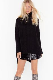 Nasty Gal Black That's How We Roll Cable Knit Swea