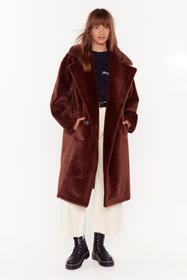 Nasty Gal Chocolate Back Fur Good Oversized Faux F
