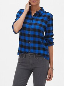 Factory Petite Boyfriend Flannel Shirt