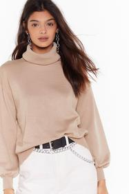 Nasty Gal Beige That's How We Roll Knit Turtleneck