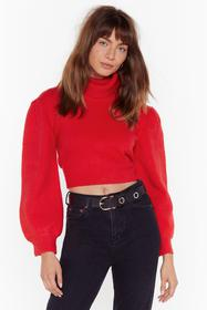 Nasty Gal Red Rollin' With It Turtleneck Puff Slee