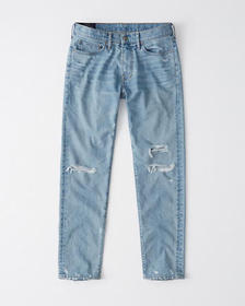 Skinny Taper Jeans, LIGHT RIPPED WASH